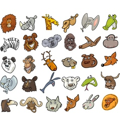 Cartoon wild animals heads huge set vector image