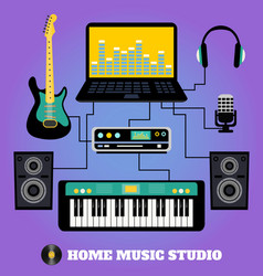 Home music studio vector image vector image