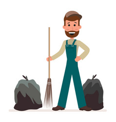janitor with a broom and garbage bags isolated on vector image vector image