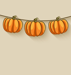 pumpkins on rope thanksgiving background vector image
