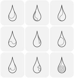 Set of symbols of a drop water vector image vector image