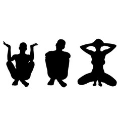 silhouettes of women posing vector image vector image