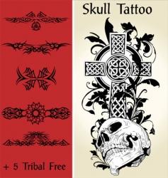 skull tattoo illustration vector image vector image