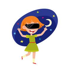 teenage girl wearing virtual reality headset vector image