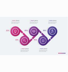 timeline infographic design with ellipses 5 steps vector image vector image
