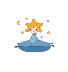 A boy star sits on pillow vector