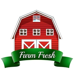 A farm fresh label with a red wooden house vector