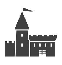 ancient castle black icon old building facade vector image