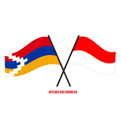 Artsakh and indonesia flags crossed and waving vector