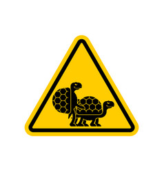 Attention turtle sex caution yellow road sign vector