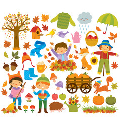 Autumn clipart set with kids and animals vector