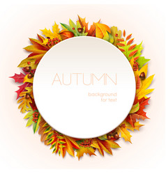 autumn round frame for your text decorated vector image