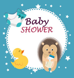 Baby shower card with cute porcupine and duck vector