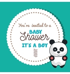 Baby shower invitation card with panda design vector