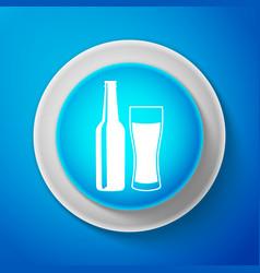 beer bottle and glass icon alcohol drink symbol vector image
