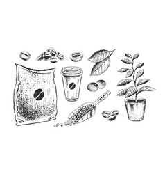 Black and white coffee items vector