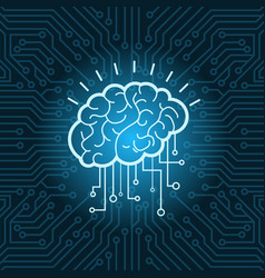 brain digital form icon over blue circuit vector image