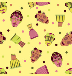 bright seamless pattern with african masks vector image