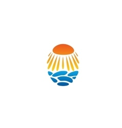 Bright sun unusual logo Beach abstract vector
