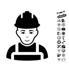 Builder Icon With Copter Tools Bonus vector