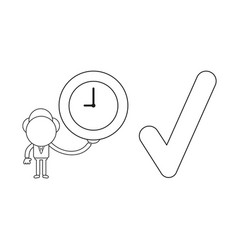 businessman character holding clock with check vector image