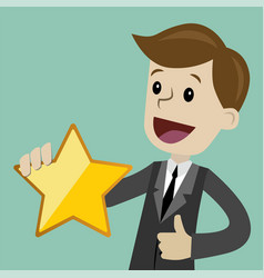 Businessman hold a big gold star victory rating vector