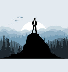 businessman on the rock vector image