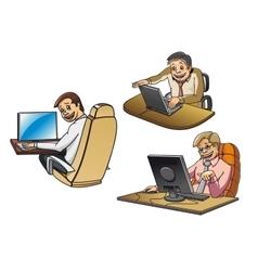 Cartoon businessmen working on computers vector image