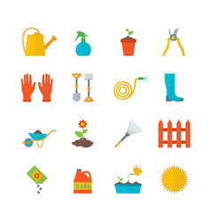 cartoon gardening equipment color icons set vector image