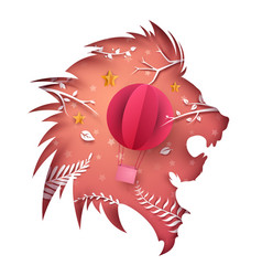 cartoon paper lion air ballon vector image