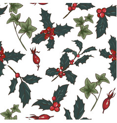 christmas plants seamless vector image