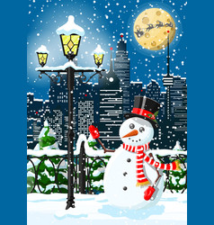 Christmas winter cityscape snowman and trees vector