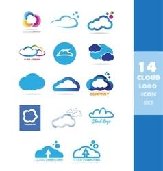 Cloud data storage logo icon set vector