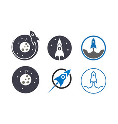 Collection rocket and space template vector