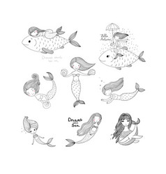 cute cartoon mermaids sirens marine theme vector image