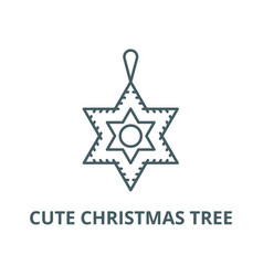 cute christmas tree line icon cute vector image