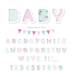 Cute textile font in pastel pink and blue vector