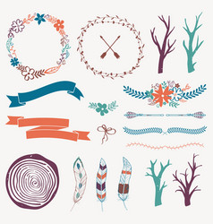 decoration set with arrows feathers floral frames vector image
