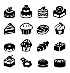 dessert bakery icon set vector image