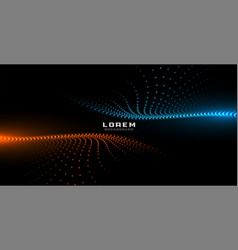 Digital particles orange and blue glowing vector