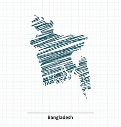 Doodle sketch of bangladesh map vector
