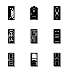 Doorway icons set simple style vector