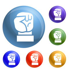 Fist up icons set vector