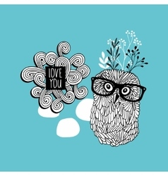 Floral owl print vector image