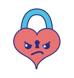 Full color angry heart padlock kawaii personage vector