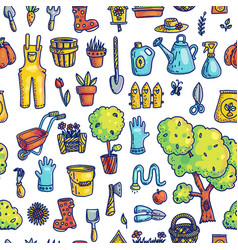 gardening hand drawn seamless pattern vector image
