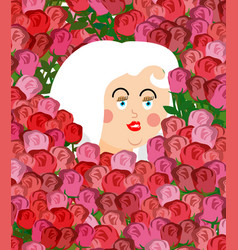 girl face in roses woman head in flower vector image