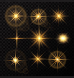Glowing lights and stars isolated on black vector