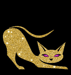 golden cat with amethyst eyes vector image