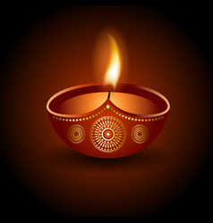 graphic of burning diya of diwali celebration vector image